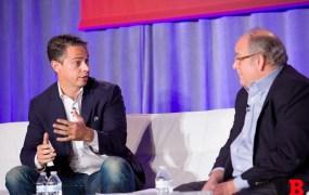 Mike Vorhaus (right) of Magid Advisors interviews Owen Mahoney of Nexon at GamesBeat 2015.
