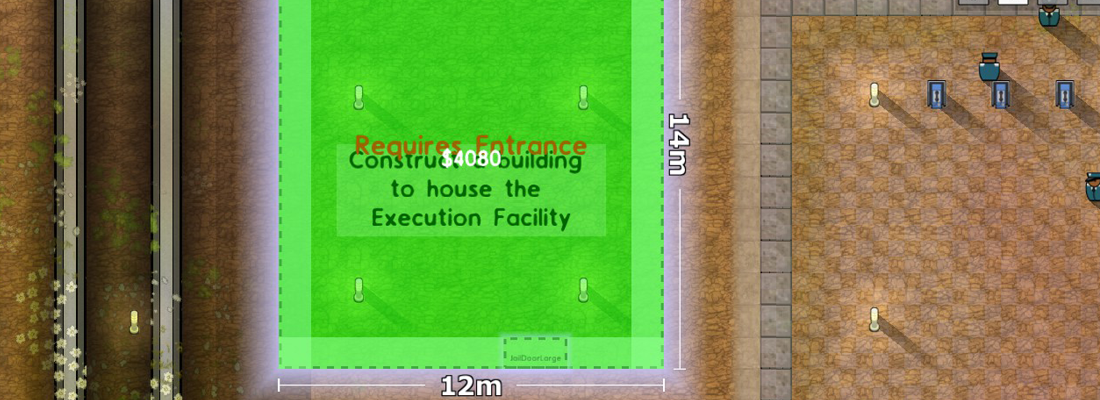 Prison Architect building out execution chamber