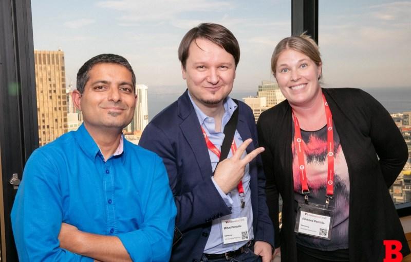 Ravi Belwal, Mihai Pohontu, and Johanna Pentila of Samsung