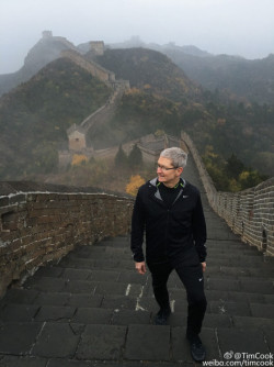 Apple's Tim Cook at the Great Wall of China this week