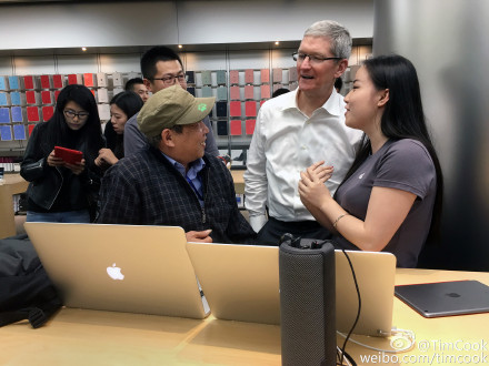 Tim Cook at one of Apple's stores in Beijing