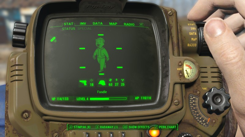 This is what Vault Boy looks like when he is high. Hit RB to see what he is high on!
