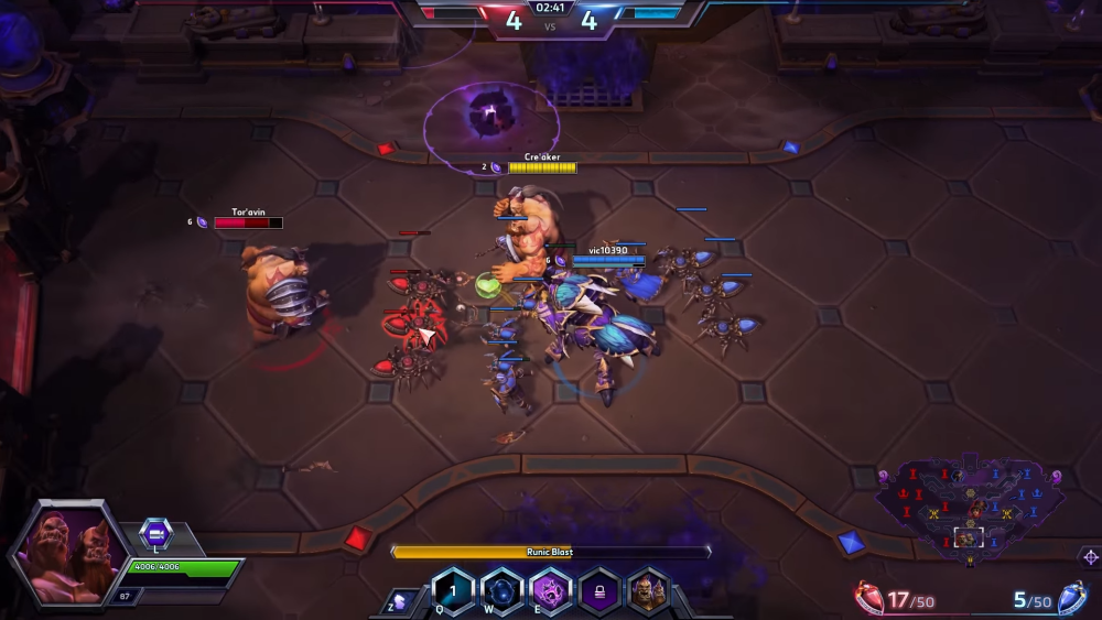 When Cho throws out the Rune Bomb, a timer will appear for Gall to detonate it with Runic Blast.