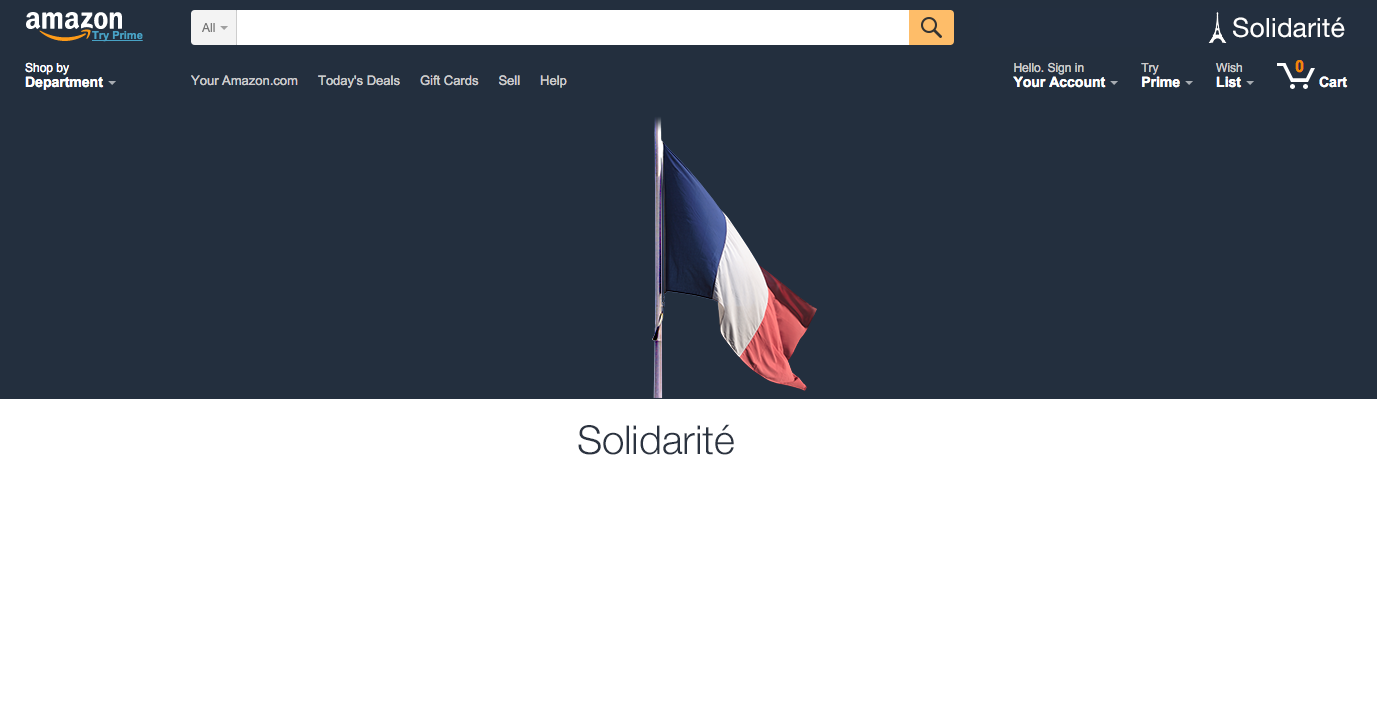 Amazon's homepage banner this morning.