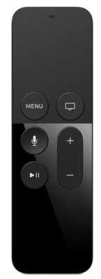 Apple's new Siri remote features a touch area above the physical buttons and dual mics for voice-recognition. Photo courtesy Apple Inc.