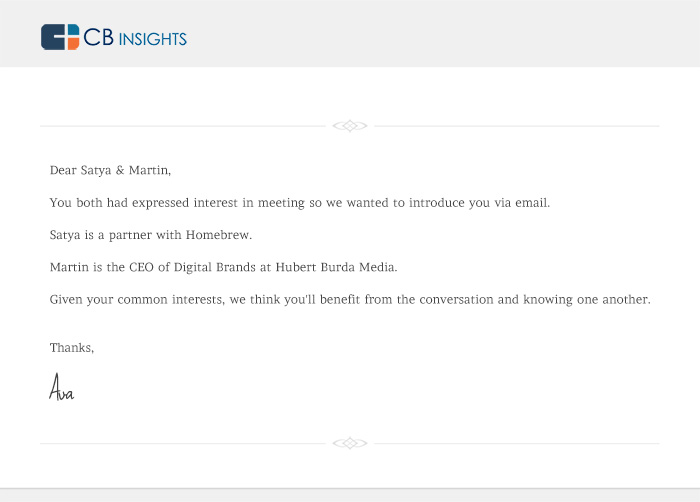 An email introduction from CB Insights' Ava bot.