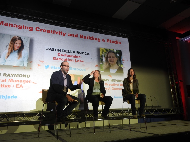 Jason Della Rocca of Execution Labs interviews Uncharted writer Amy Hennig and Assassin's Creed co-creator Jade Raymond on creativity at MIGS 15.