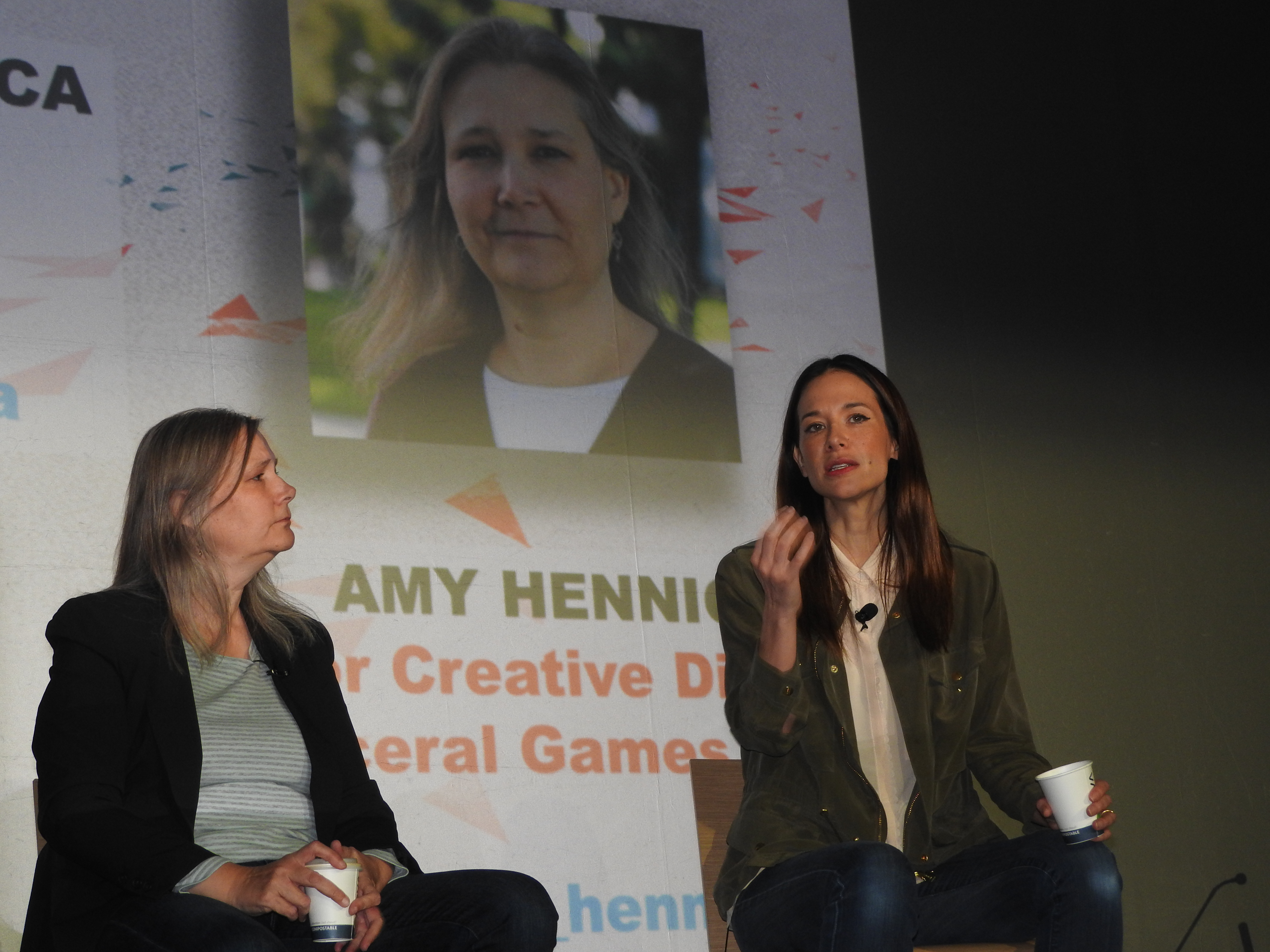 Amy Hennig (left) and Jade Raymond of EA talk about the creative process at MIGS 15.