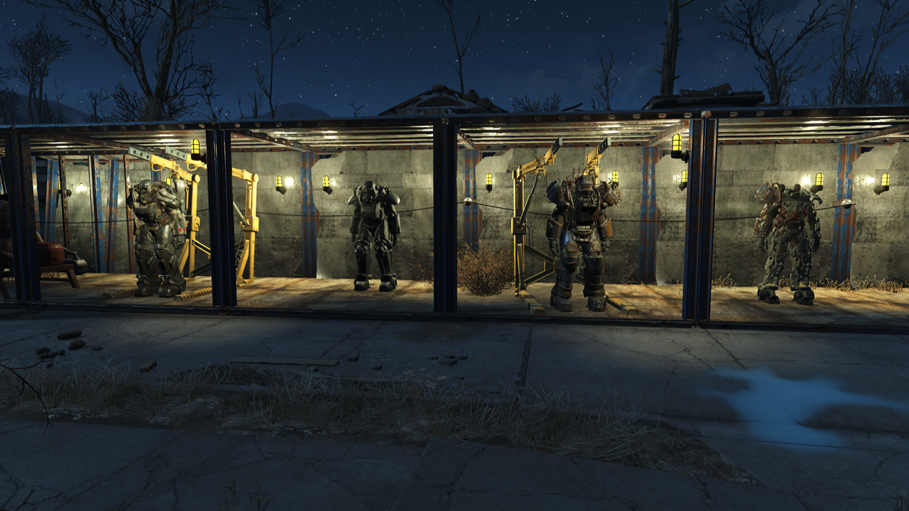 You can see that I have pylons connected to wires running along the back of my Power Armor showcase.
