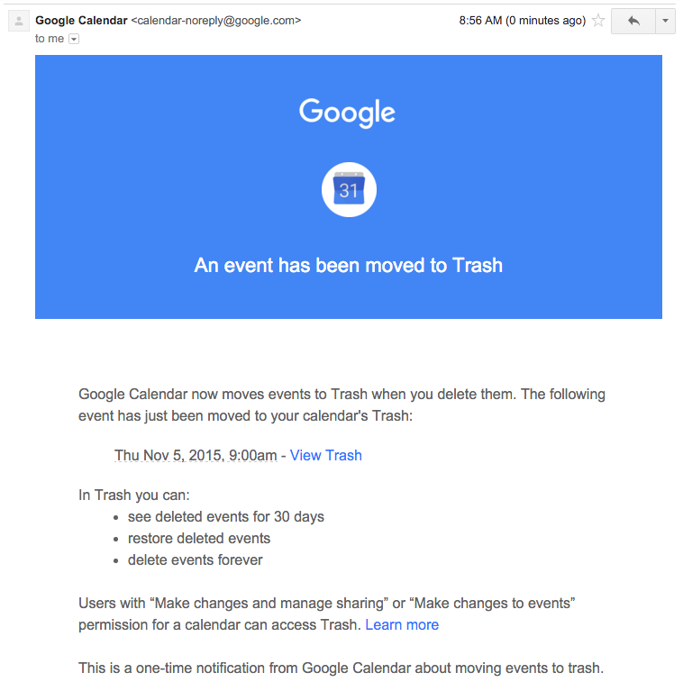 An email from Google Calendar about a deleted calendar event.