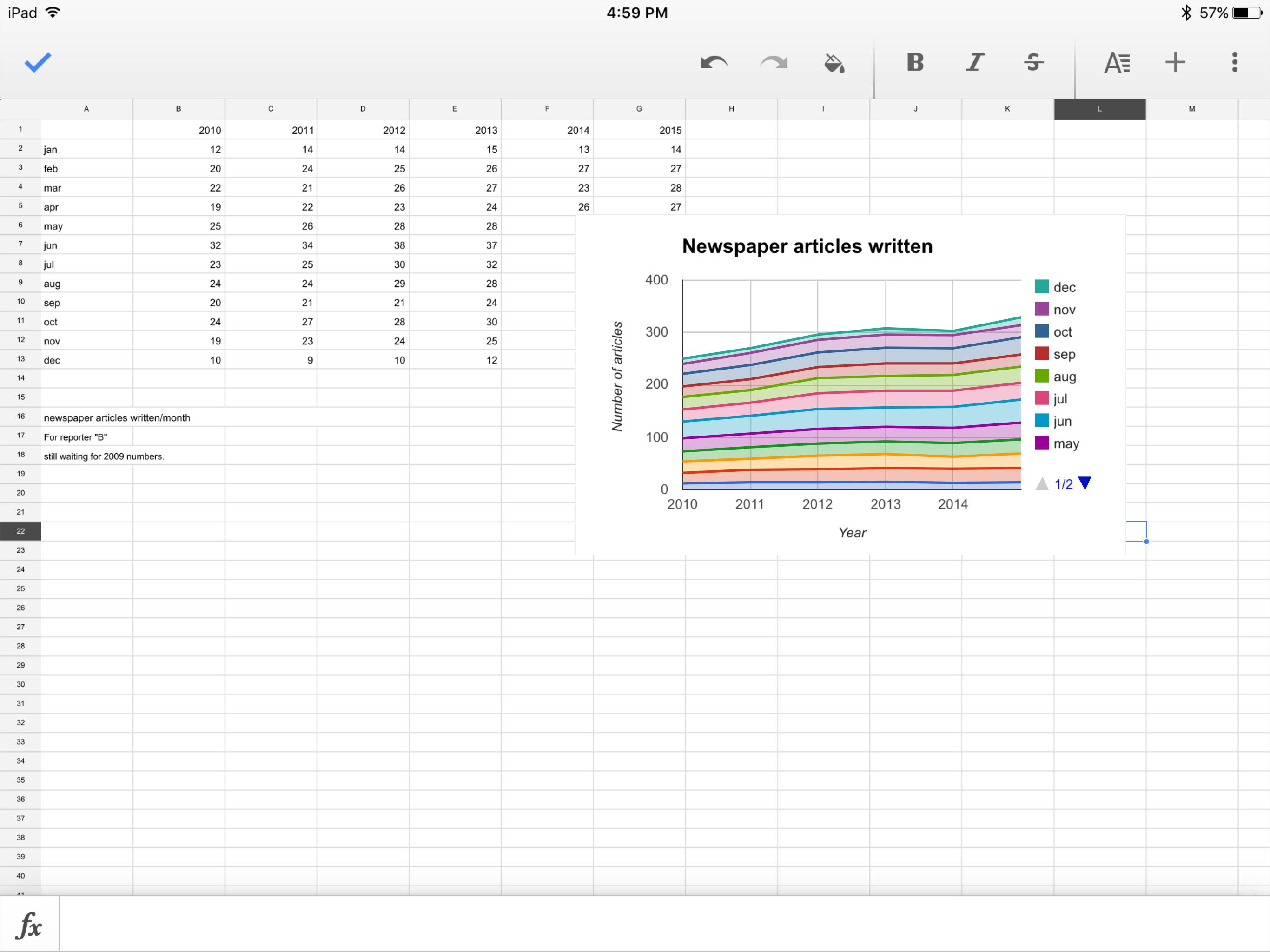 Google Sheets on the iPad Pro.