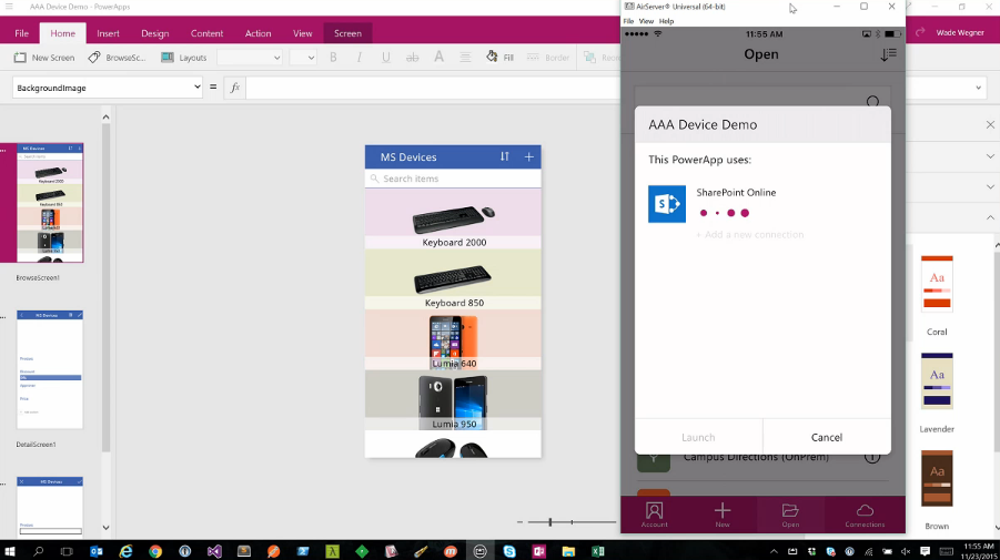 An iOS emulator running while an app is being made with Microsoft PowerApps.