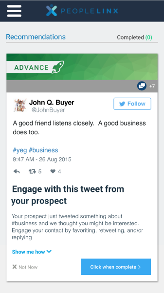 Engage with prospects on Twitter within the PeopleLinx platform, on mobile, or email