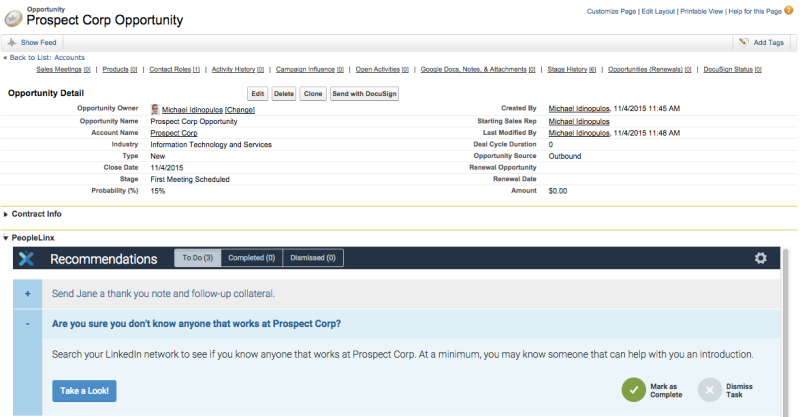 Screenshot of PeopleLinx integration within Salesforce