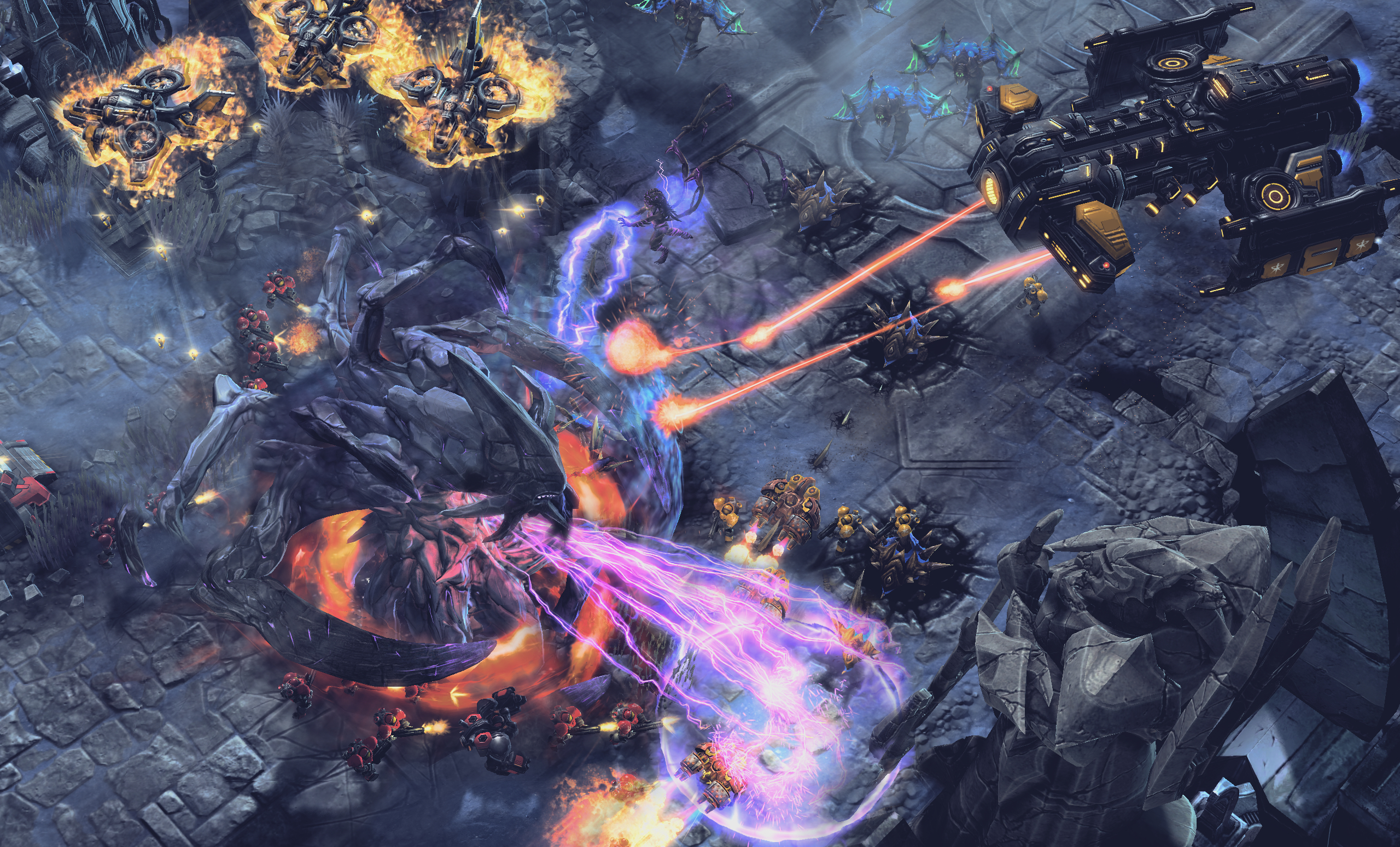 Big battles are signature Blizzard RTS design.