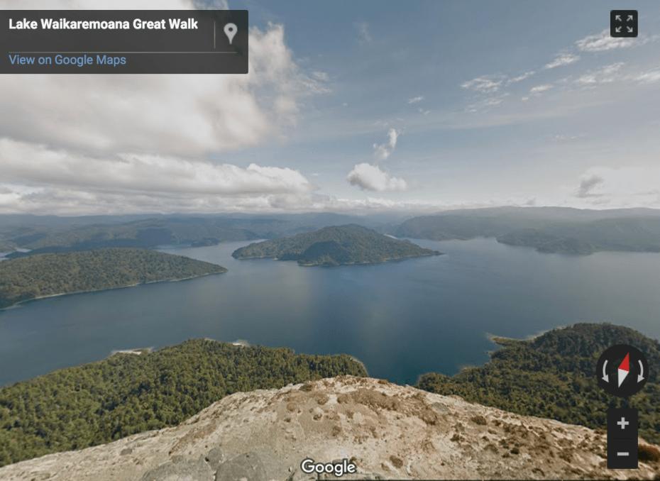 """Panekire Bluff looks over Lake Waikaremoana which translates to 'sea of rippling waters' in te reo."""