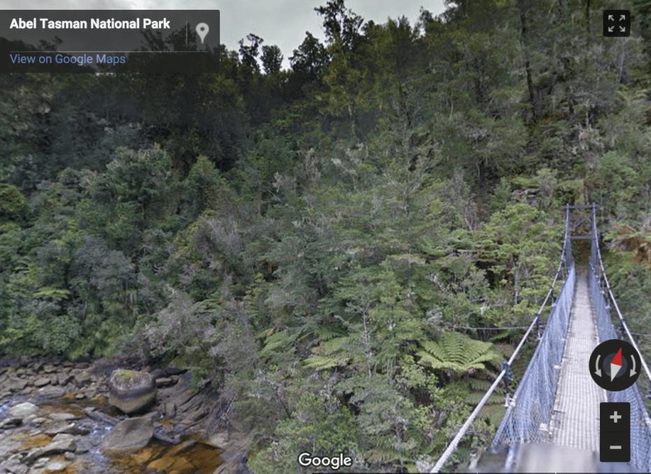 """An impressive 47-meter long suspension bridge takes you over Falls River."""