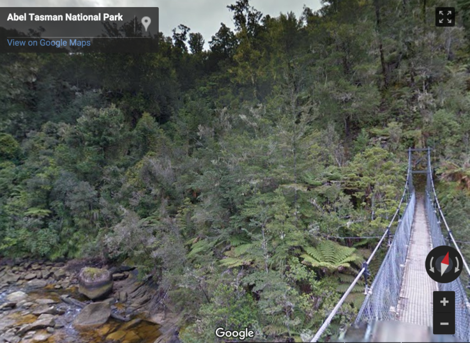 """An impressive 47-meter long suspension bridge takes you over Falls River."""