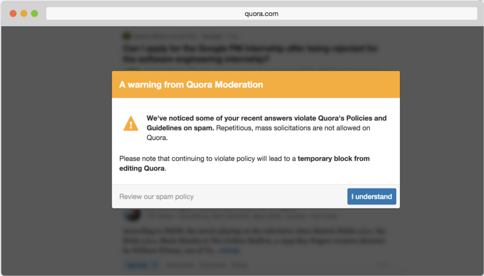 Quora warning bad actors about violating its user policy