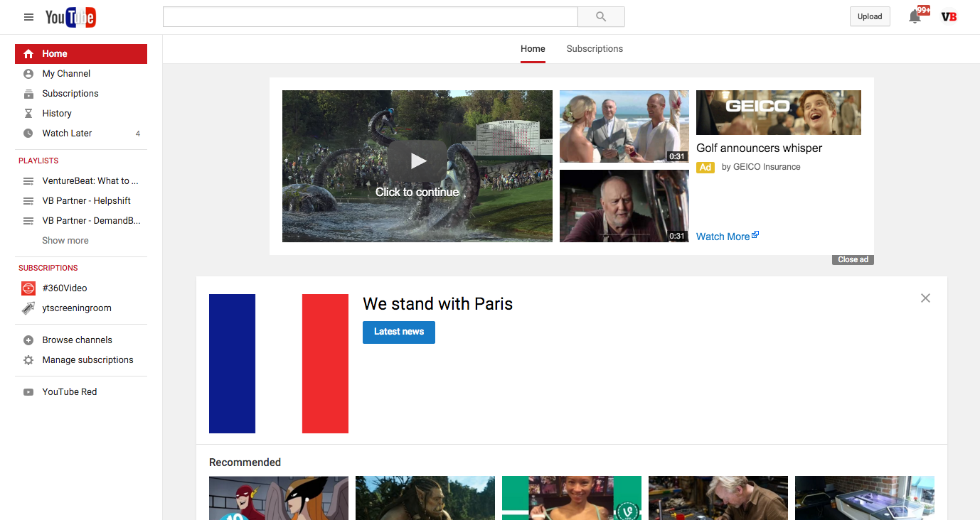 YouTube's homepage.