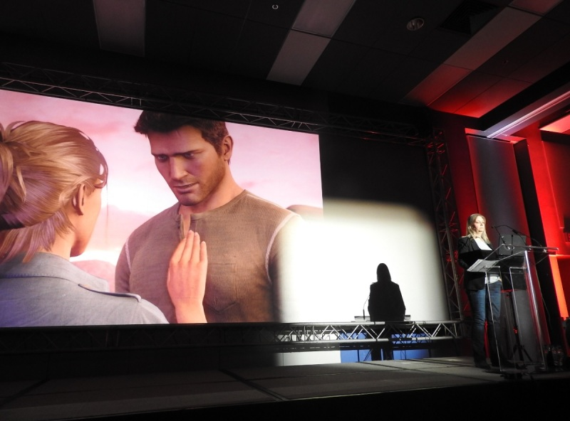 The closing moment of Amy Hennig's talk at MIGS 15.