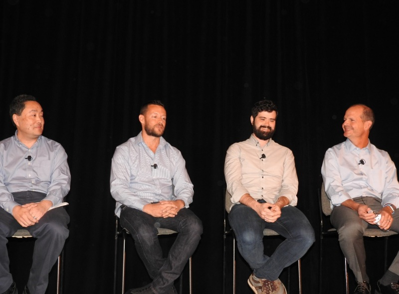 AR VR panelists (from left) Ron Azuma of Intel, Dan Eisenhardt of Recon Instruments, Ray Davis of Epic Games, and Andrew Beall of World Viz.