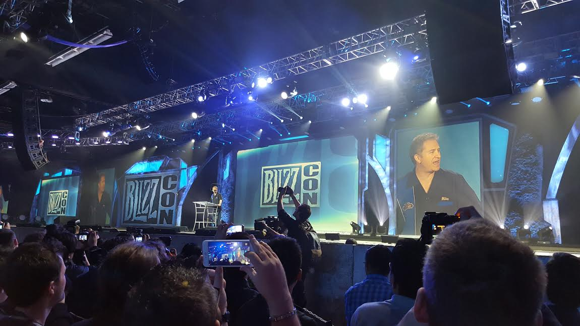Mike Morhaime at the opening ceremony for BlizzCon 2015.