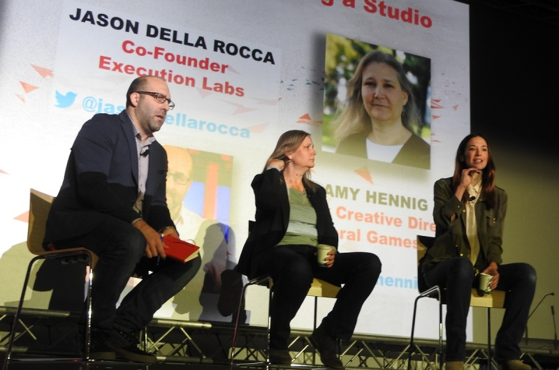 Jason Della Rocca interviews EA's Amy Hennig (center) and Jade Raymond.