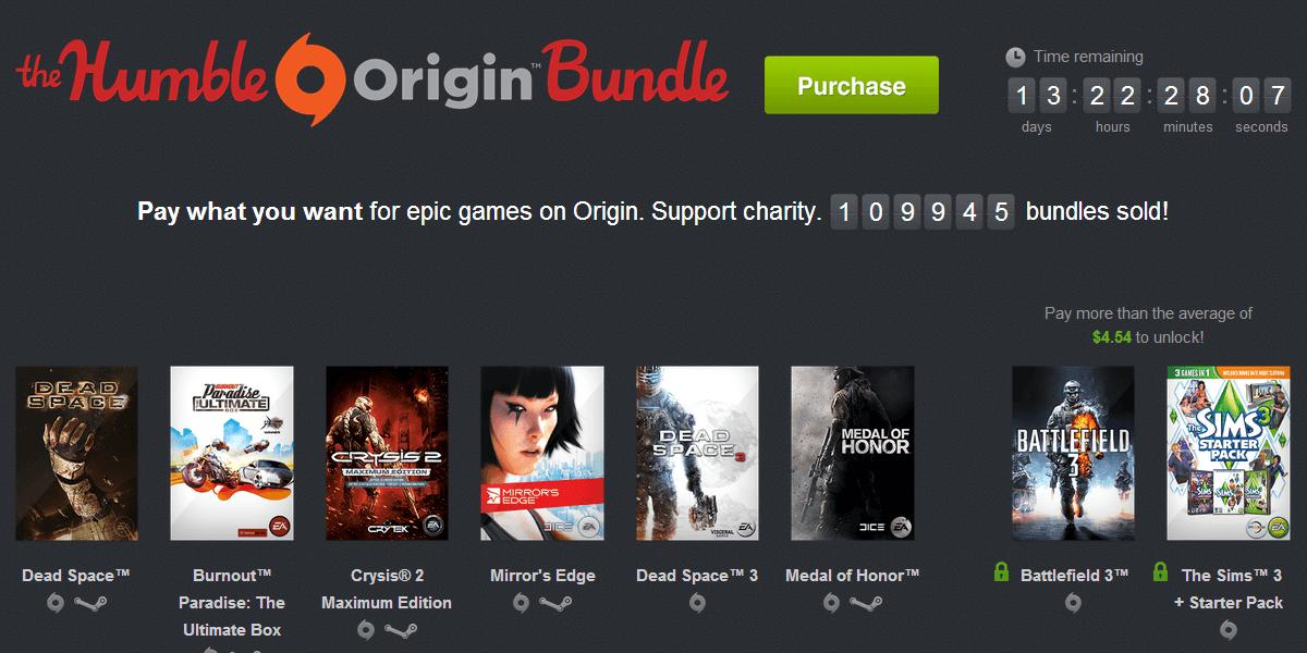 Humble Bundle Origin bundle