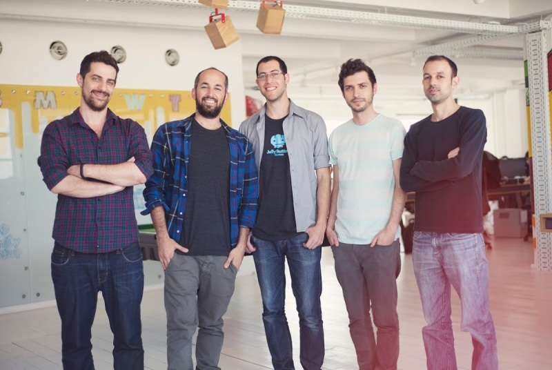 Jelly Button founders from left to right: Ron Rejwan, Mor Shani, Alon Lev, Moti Novo, and Ron Saranga.