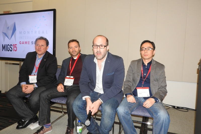Game investors (left to right) Marc Alloul of W2/W3, JS Cournoyer of Real Ventures; Jason Della Rocca of Execution Labs; and Ringo Zhu of CMGE.