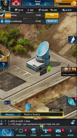 A view of the research facility in a screen shot from Mobile Strike.