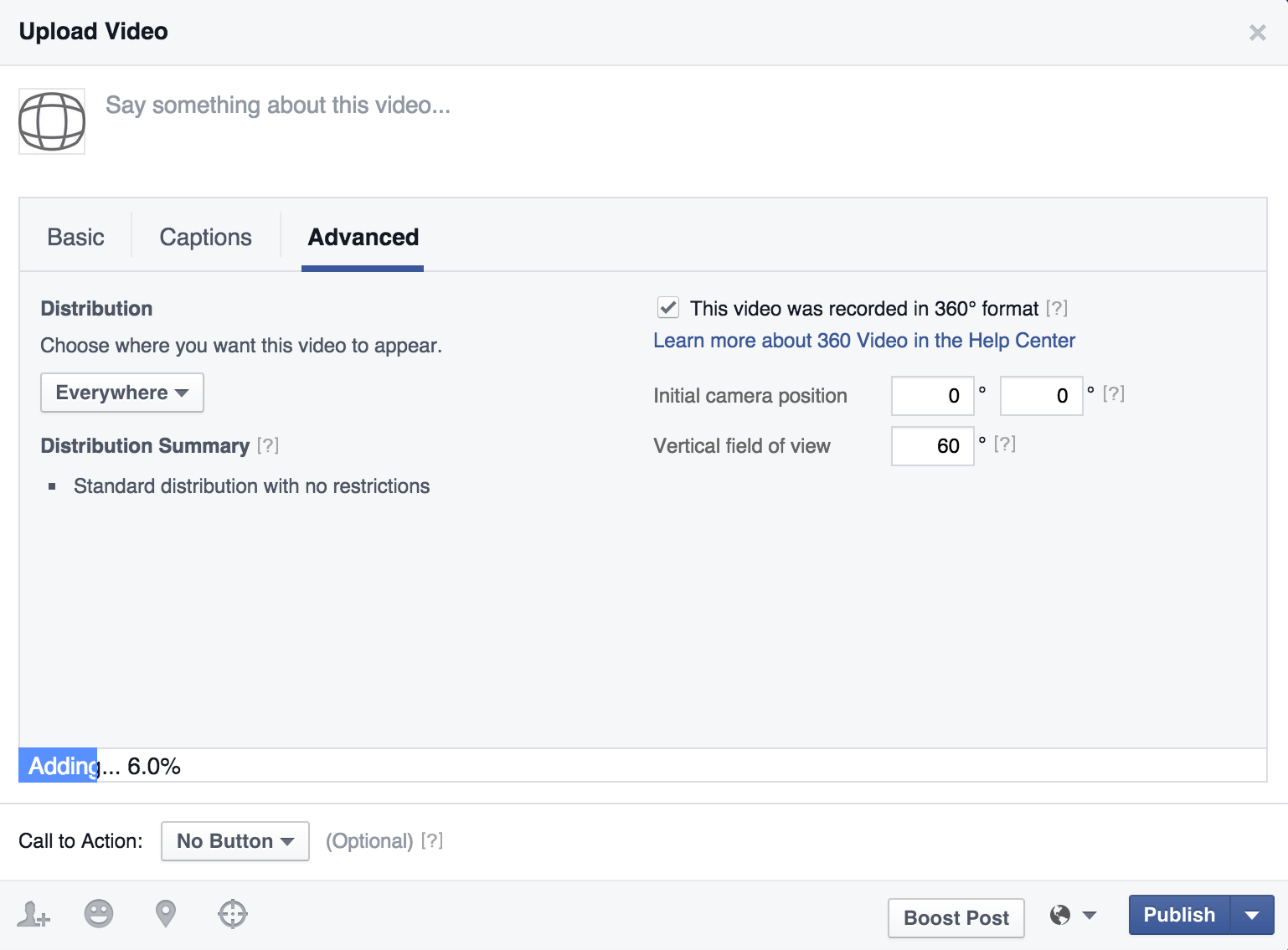 Facebook 360 video operation video player controls