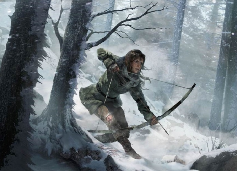 Lara Croft, hunting in a frozen forest, in Rise of the Tomb Raider.