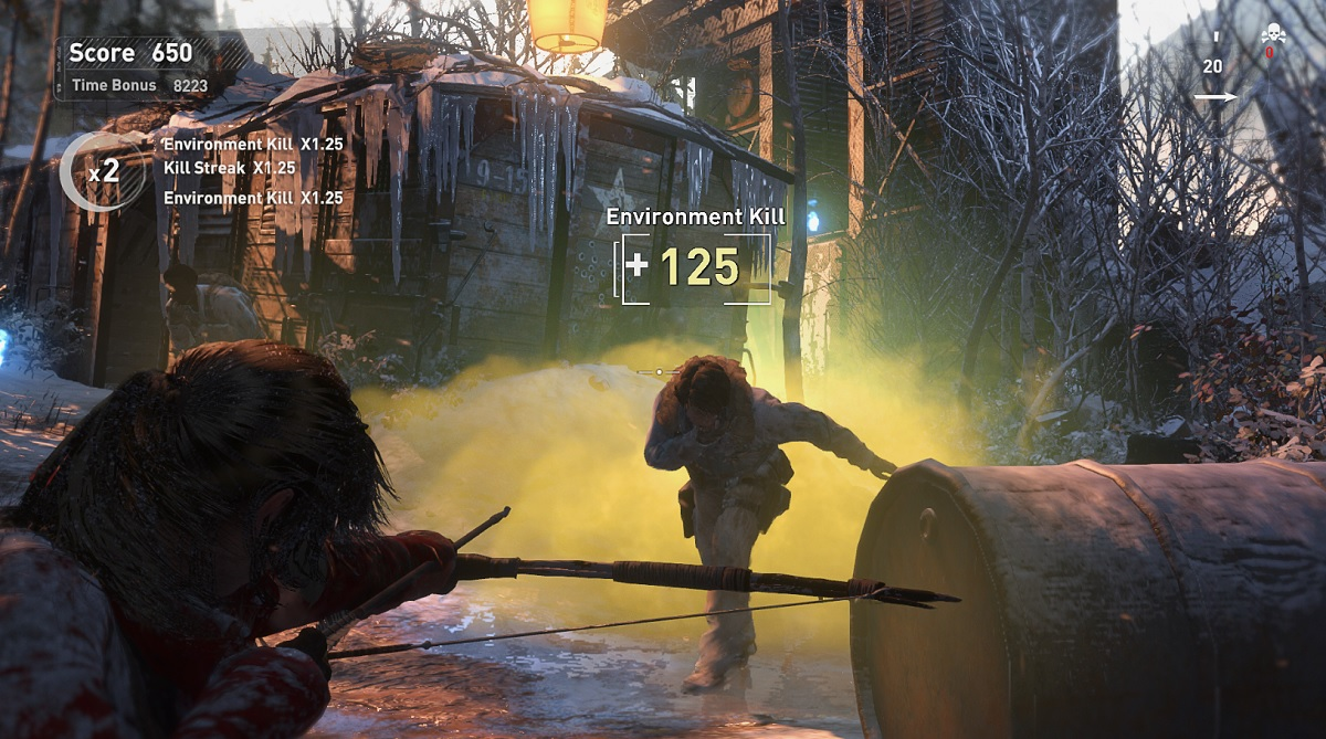 Lara Croft uses poison arrows in Rise of the Tomb Raider.