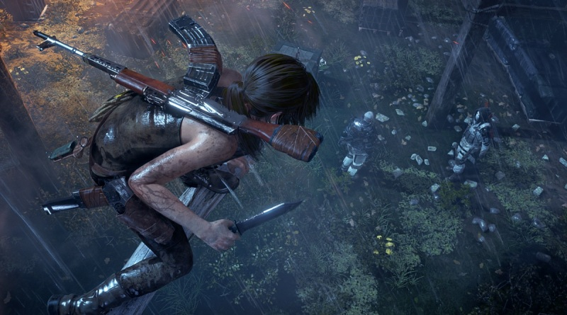 Lara Croft is poised to kill from above in Rise of the Tomb Raider.