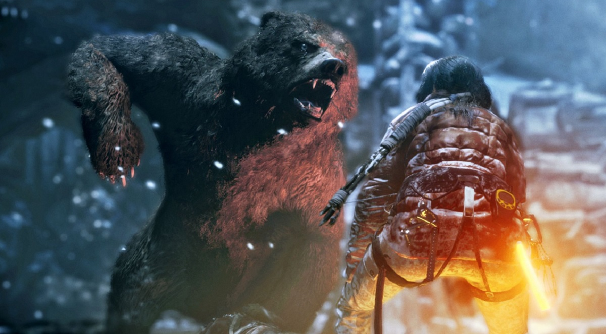 Lara Croft versus the brown bear in Rise of the Tomb Raider.