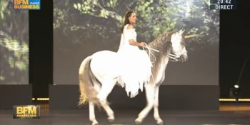 That time a woman rode a unicorn on stage at a French business awards show to celebrate startups
