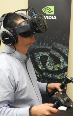 Dean Takahashi tries out the Everest VR demo with Nvidia and HTC VR tech.