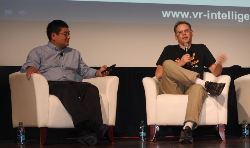 Dean Takahashi of GamesBeat (left) and Tim Sweeney of Epic Games at VRX.