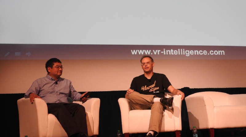Dean Takahashi of GamesBeat and Tim Sweeney of Epic Games take questions at VRX.