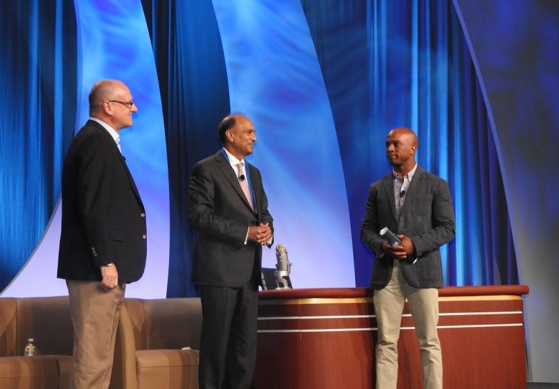 Wendell Brooks (left), Arvind Sodhani, both of Intel Capital, and Jon Fortt of CNBC.