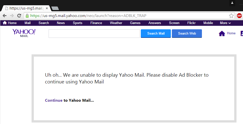 Yahoo says blocking ad-block users from their email is ...
