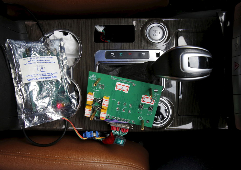 A part of devices of a brain-controlled vehicle system is seen connected to a car during a demonstration at Nankai University in Tianjin, China, November 17, 2015. REUTERS/Kim Kyung-Hoon