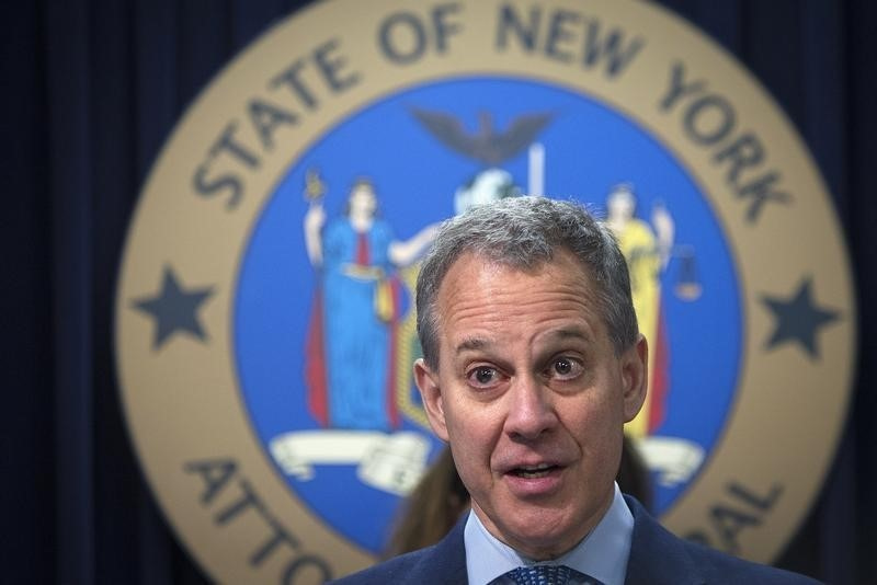 New York State Attorney General Eric Schneiderman speaks during a news conference in the Manhattan borough of New York August 21, 2014.