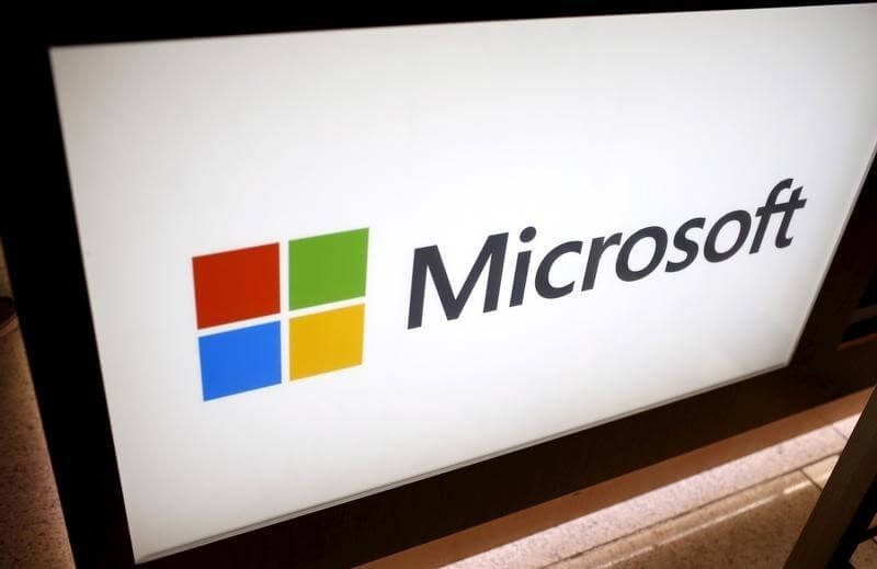 An electronic Microsoft logo is seen at the Microsoft store in New York City, July 28, 2015.