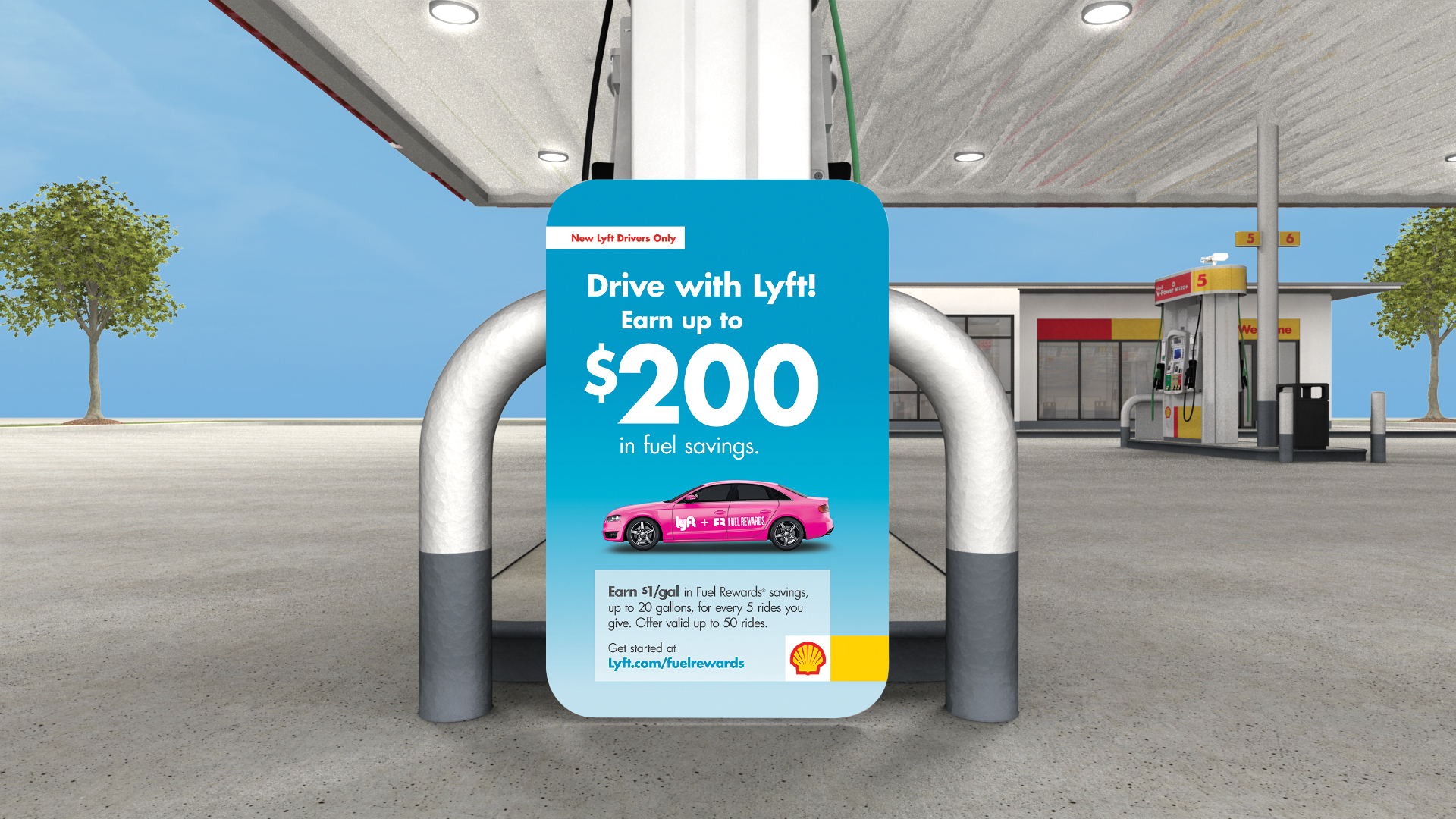 Photo of a Lyft advertisement displayed at Shell gas stations.