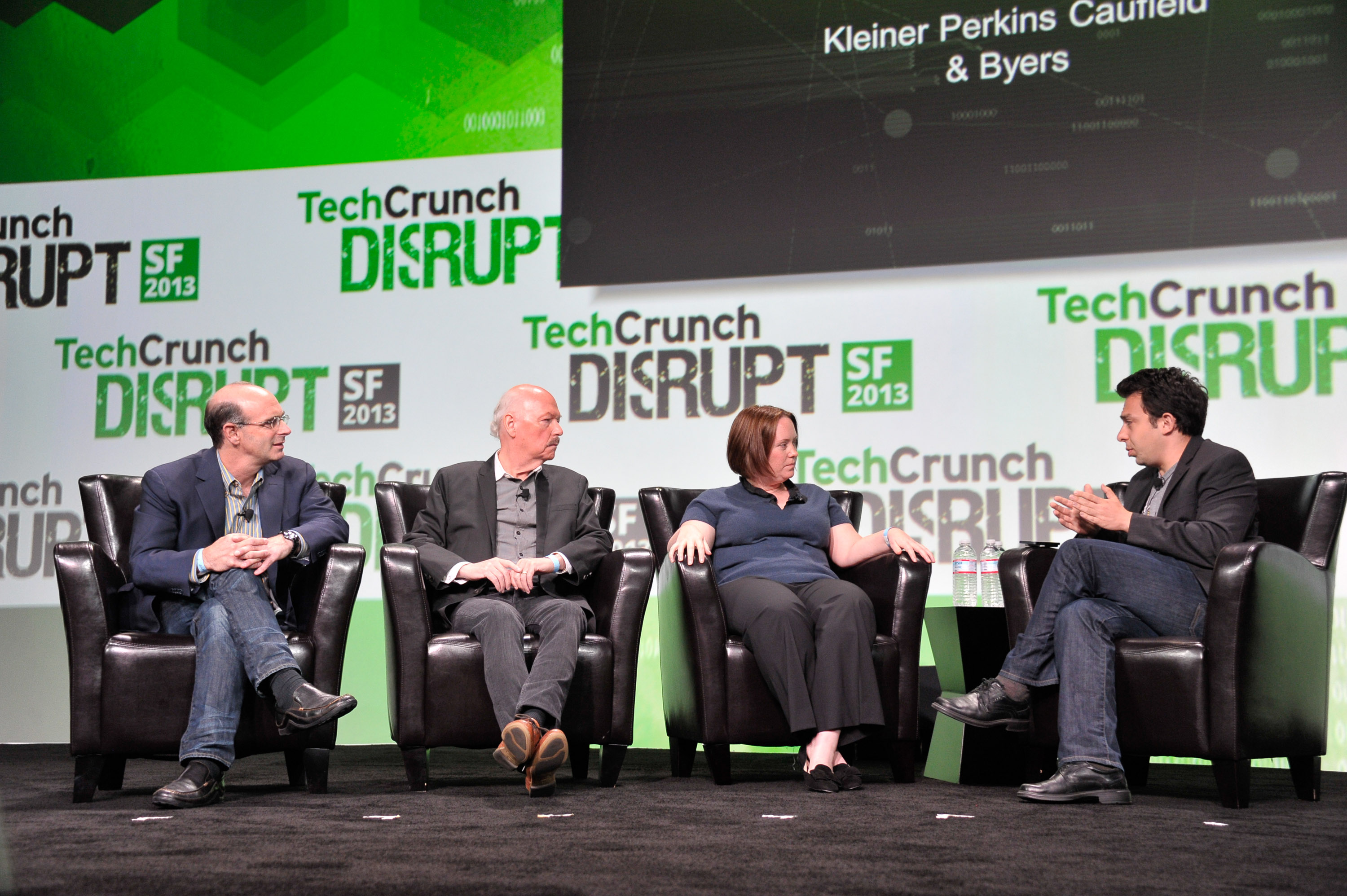 KPCB's Ted Schlein on stage at TechCrunch Disrupt SF in 2013 discussing cybersecurity technologies.