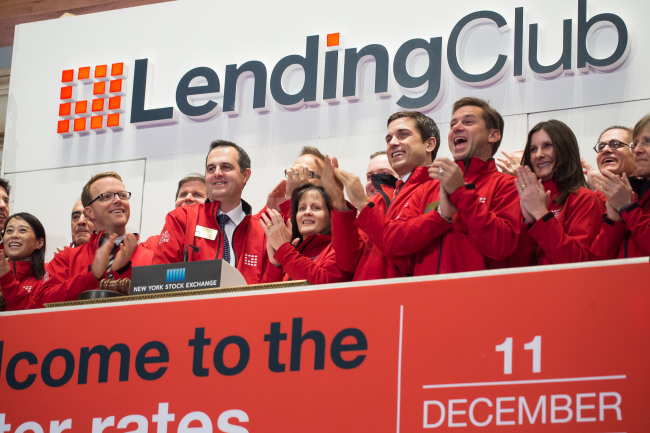 NEW YORK, NY – DECEMBER 11: LendingClub Corporation led by Founder and CEO Renaud Laplanche and members of the company's management team ring the opening bell at the New York Stock Exchange on December 11, 2014 in New York City. (Photo by Ben Hider/NYSE)