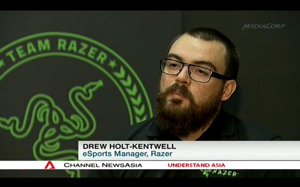 Drew Holt-Kentwell talks esports on TV.